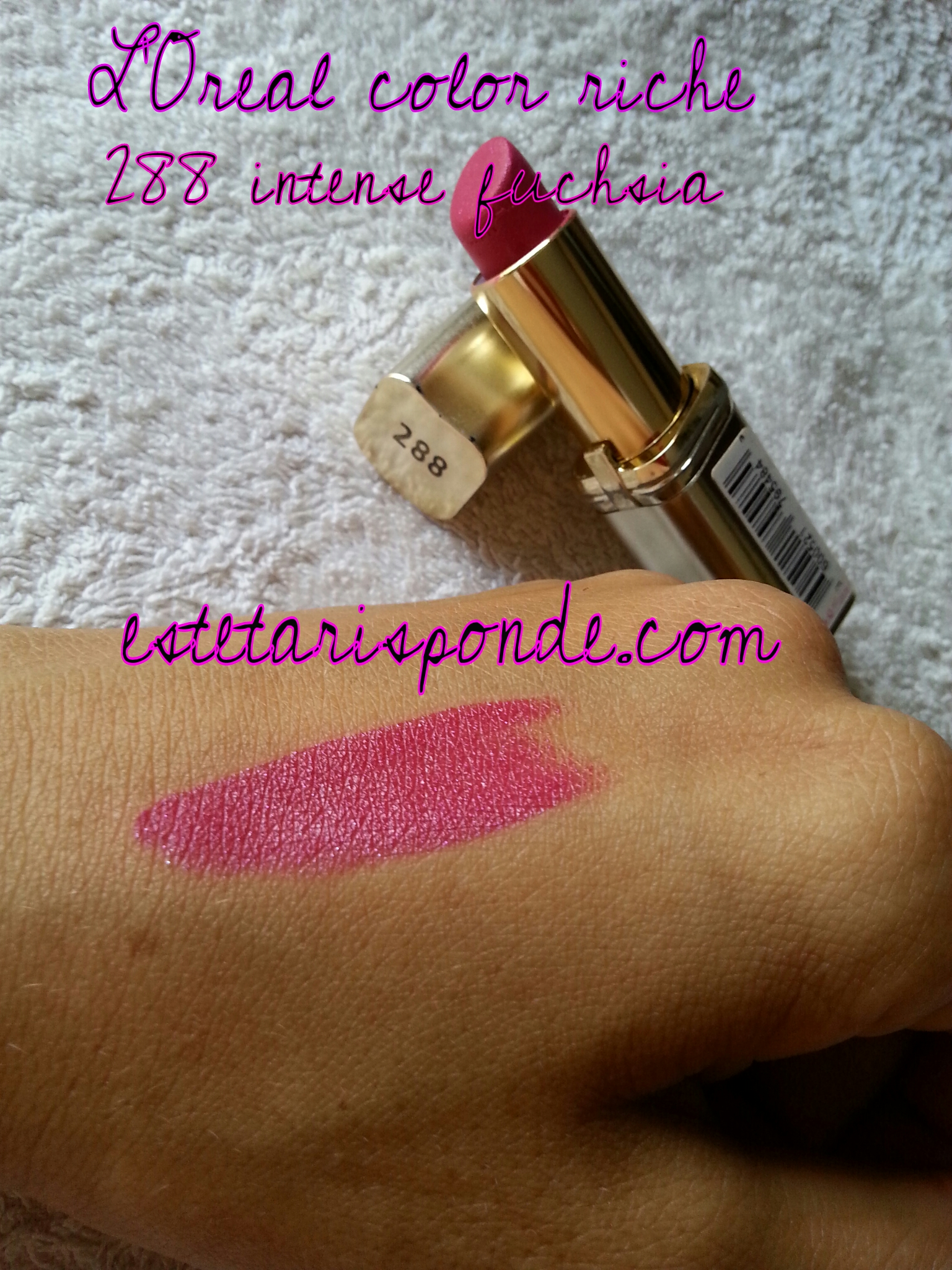 L'Oreal Color Riche #288 intense fuchsia - swatch